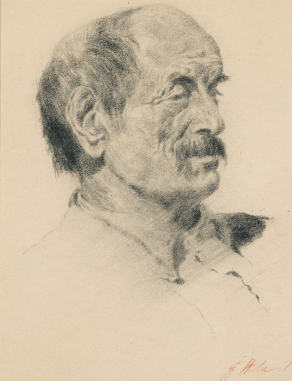 Drawing of the head of man with a mustache