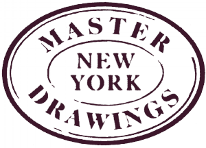 "Logo of ""Master Drawings New York"" inside an oval"