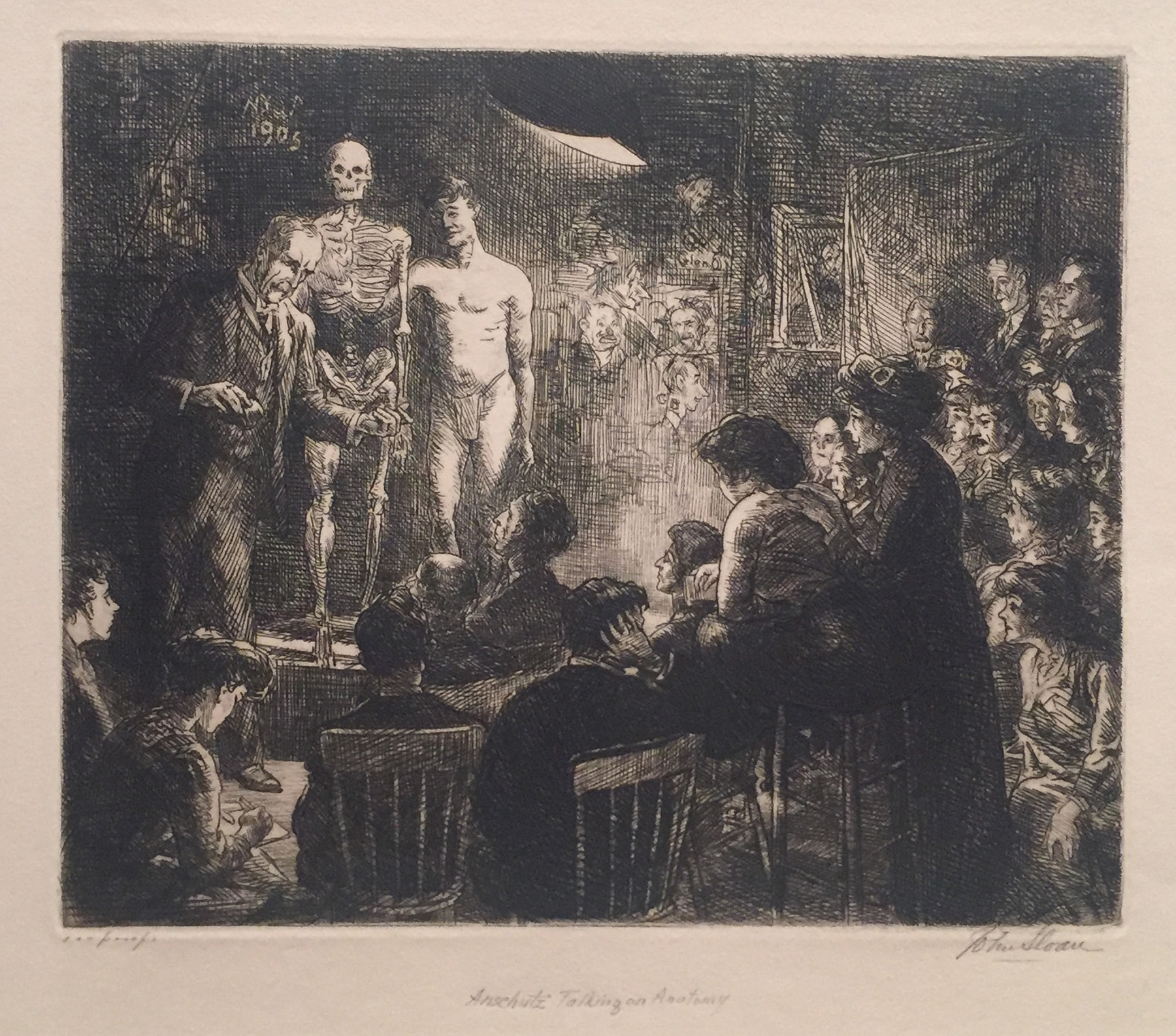 Etching of a man presenting a skeleton and a man in a sheath while a crowd watches