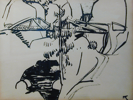 Ink drawing of a bridge over water in the mountains