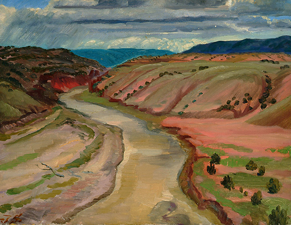 Painting of river running between two hills (pink and red). Blue hills in background