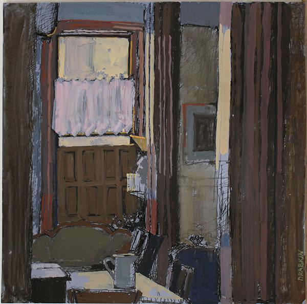 Gouache of brown-tone room, pitcher on table, door in background