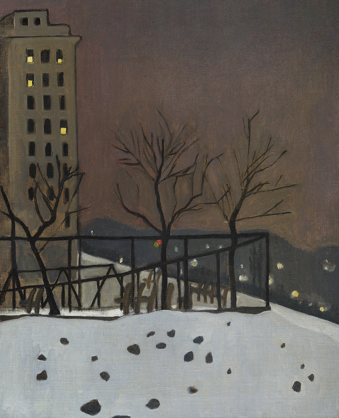 Painting of bare trees in snow, hills in background, apartment building on left