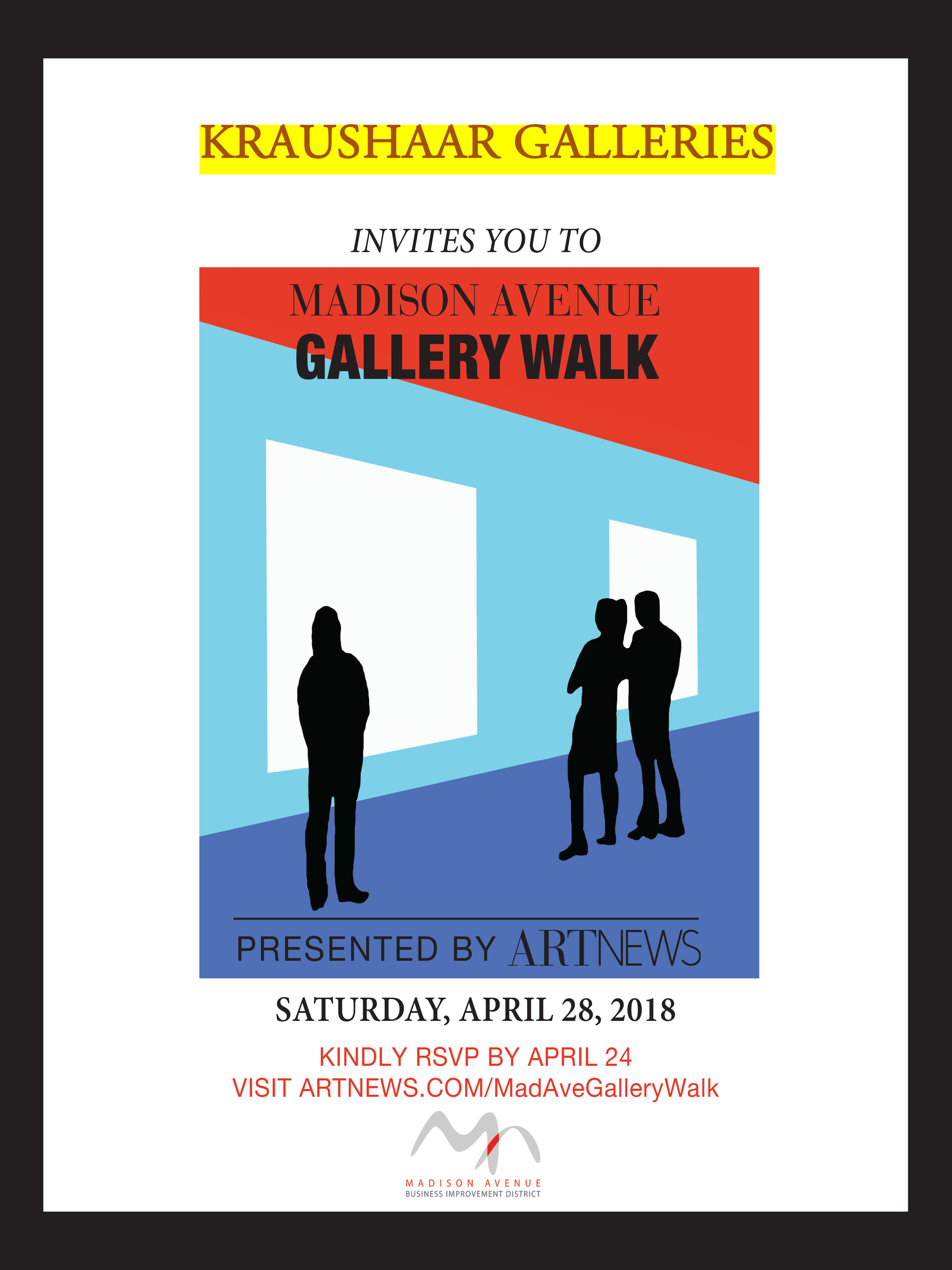 "Announcement reading ""Kraushaar Galleries invites you to Madison Avenue Gallery Walk. Presented by ArtNews. Kindly RSVP by April 24. Visit artnews.com/MadAveGalleryWalk."" Image at center of three silhouette figures standing in front of blue wall with white cutout."