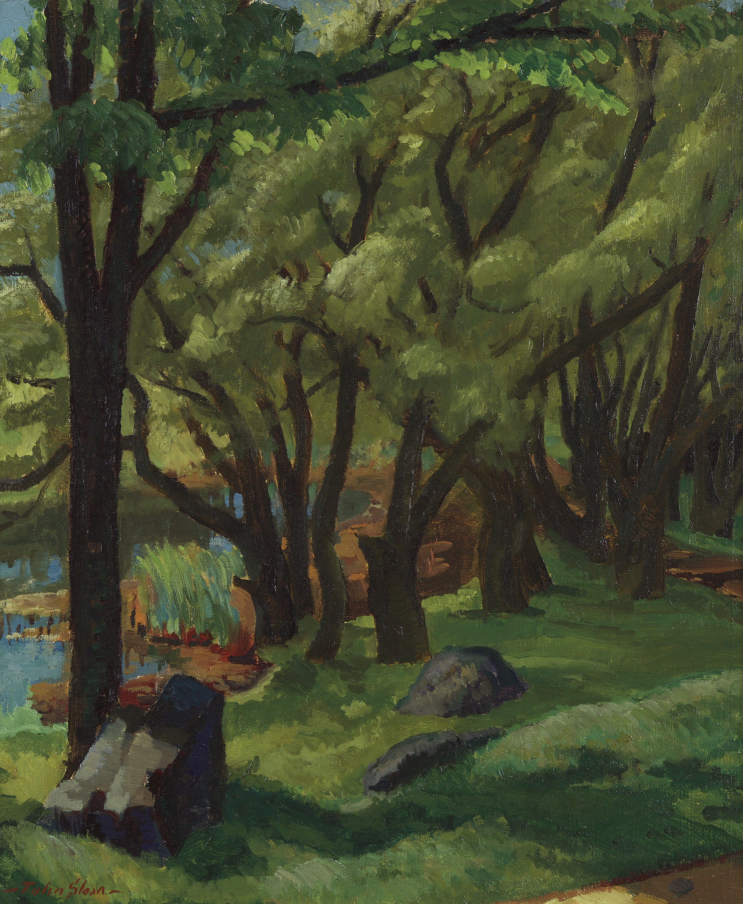 Painting of green field with tall willow trees, water on left