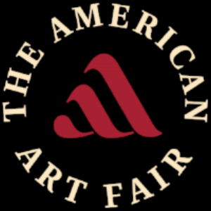 "Graphic of text ""The American Art Fair"" circling a red symbol of ""a"" on black background"
