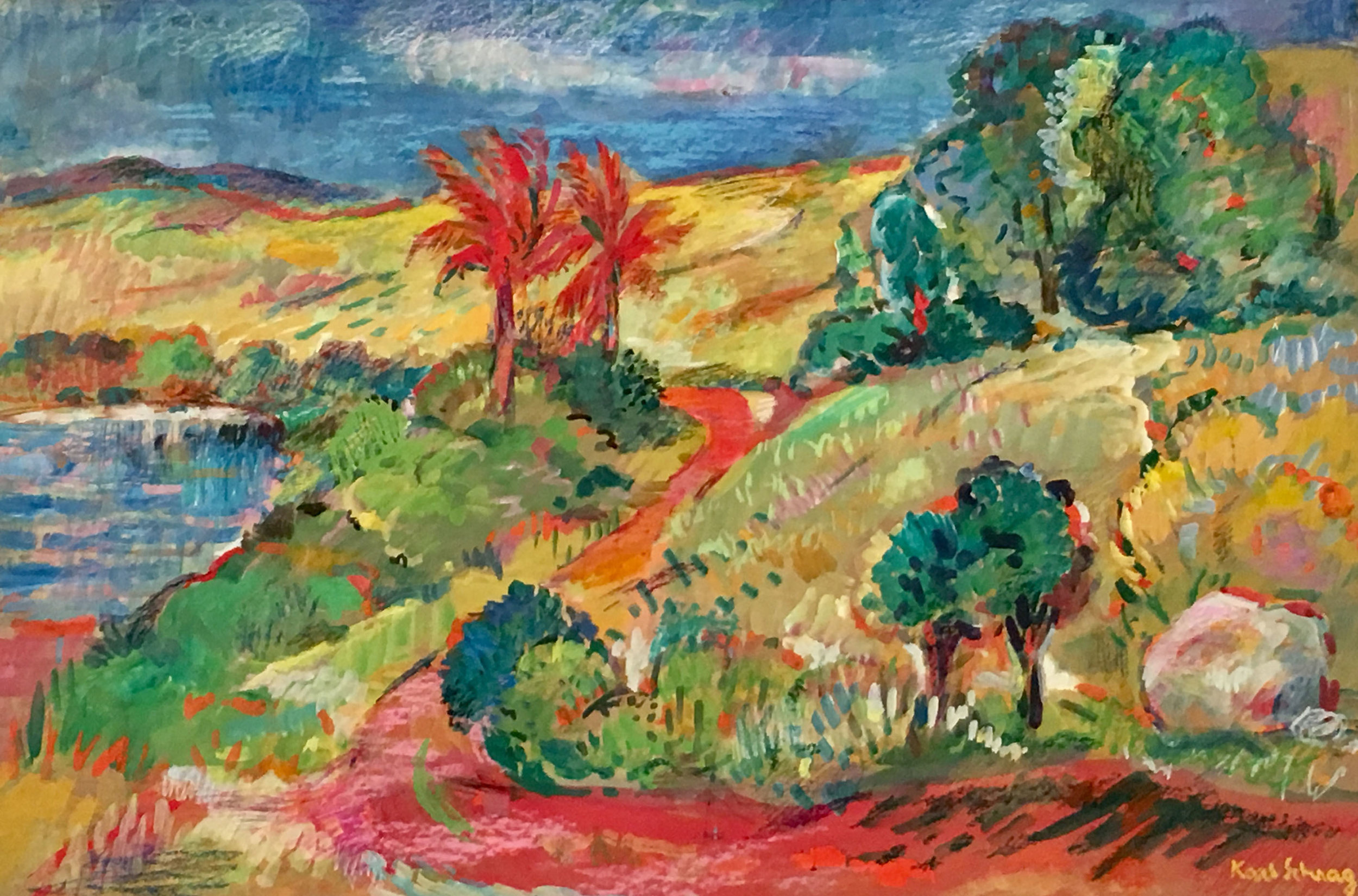 Gouache and crayon bright landscape of trees, hills, and water in green, red, yellow, blue, and pink