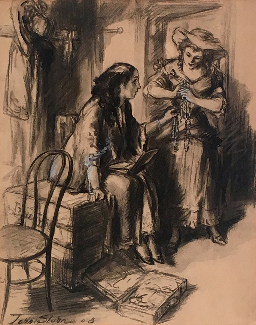 Illustration of two women, one sitting, one standing wearing a dress and hat, chair in foreground