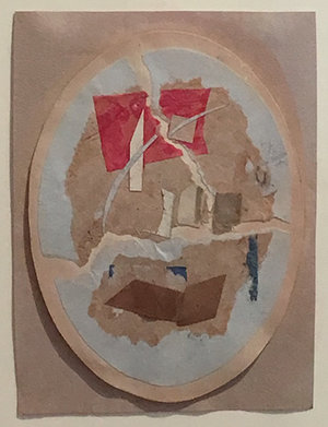 Collage of beige, red, brown, and blue paper in oval on pink/beige paper