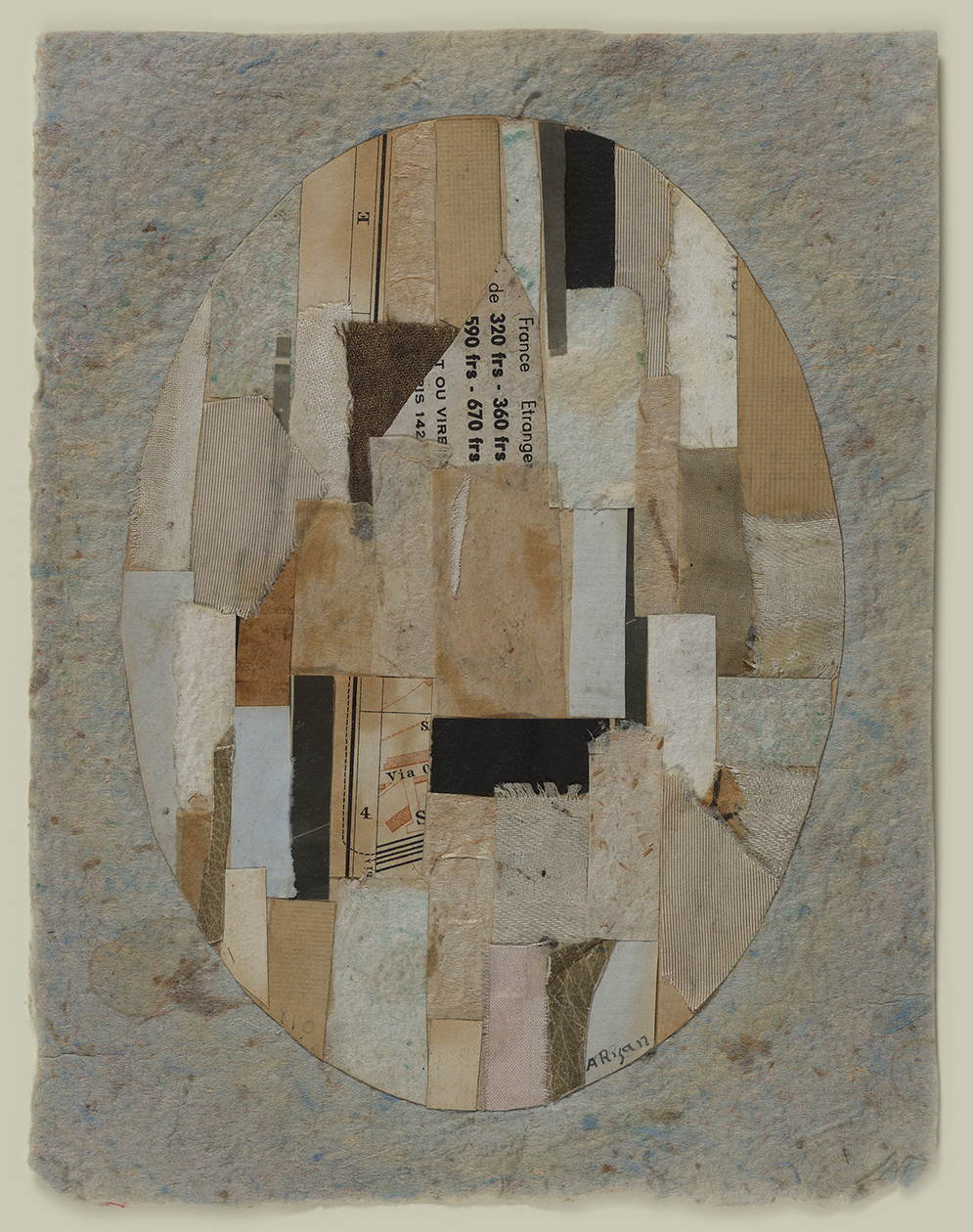 Collage of beige, blue, black, brown paper and fabric in oval on blue/beige handmade paper