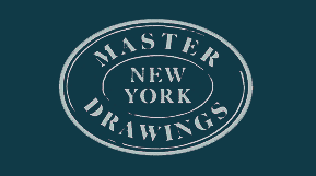 "Graphic of text ""Master Drawings New York"" in white oval on blue background"
