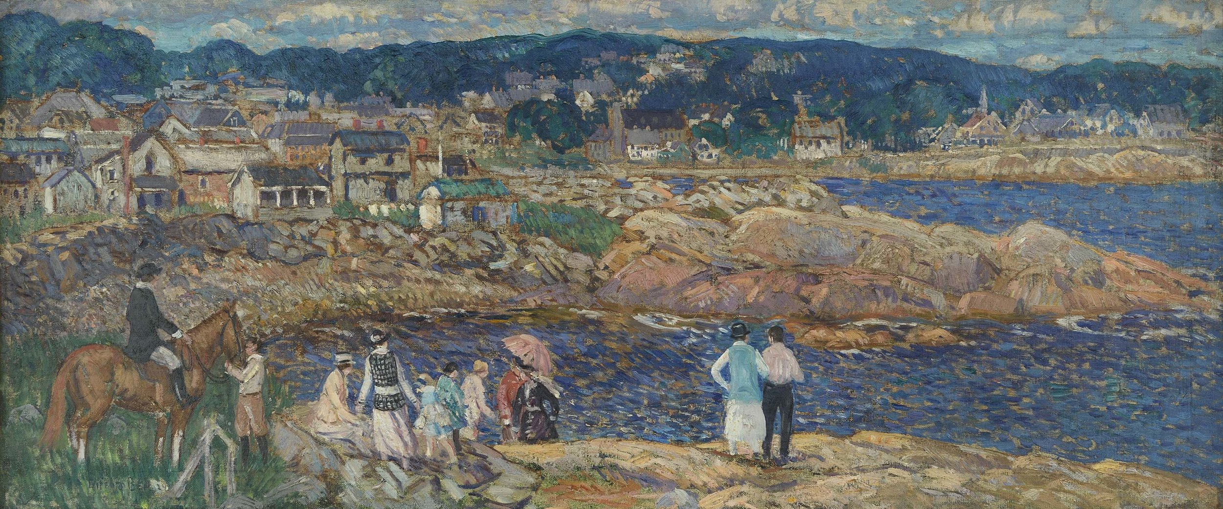 Painting of people standing on waterfront, horse (with rider) on left, houses and mountains in background.