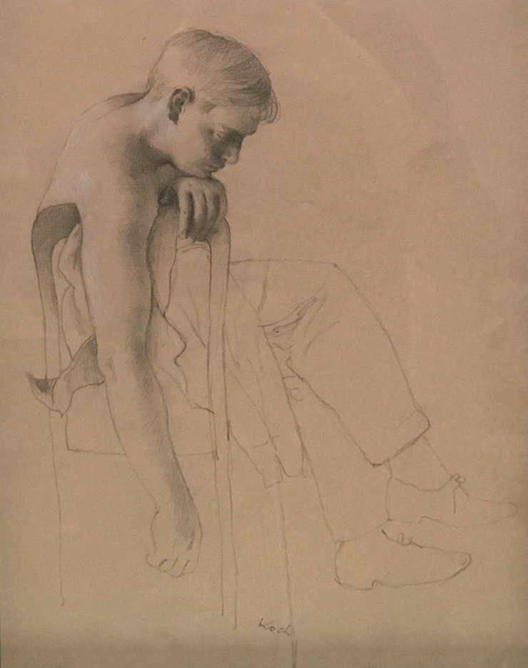 Drawing of shirtless boy leaning on chair