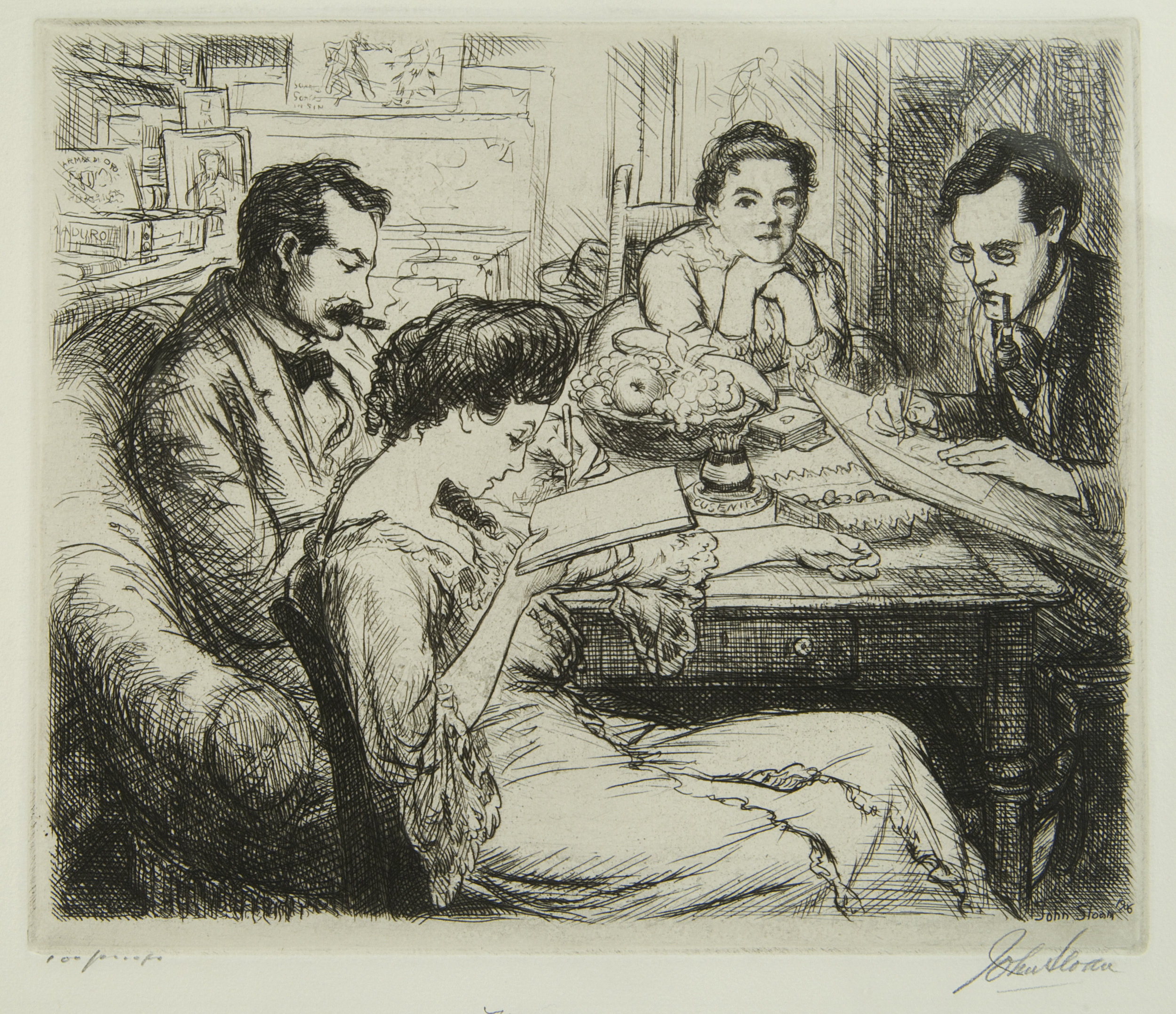 Etching of four figures sitting at a table, two men and two women. One reads while smoking, a woman reads, a man draws, and a woman looks at the viewer
