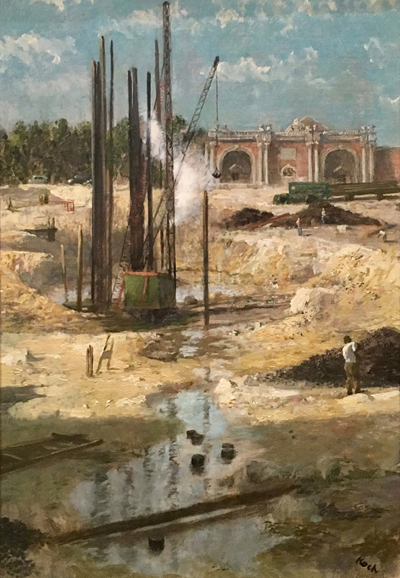 Oil painting of a park scene under construction featuring a pile driver and multiple figures working.