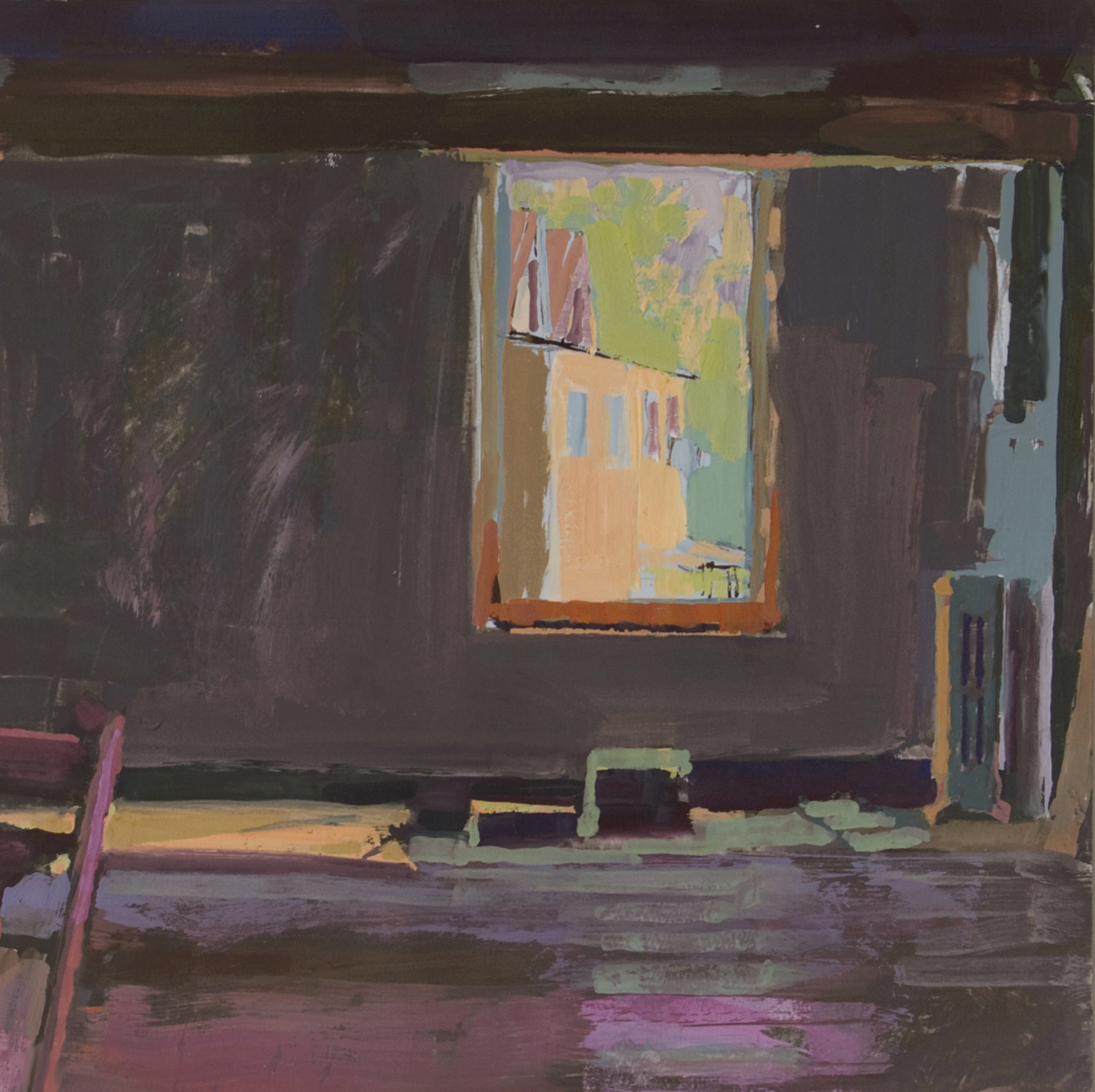 Gouache of an empty interior with  a radiator, a stool, and an open window.