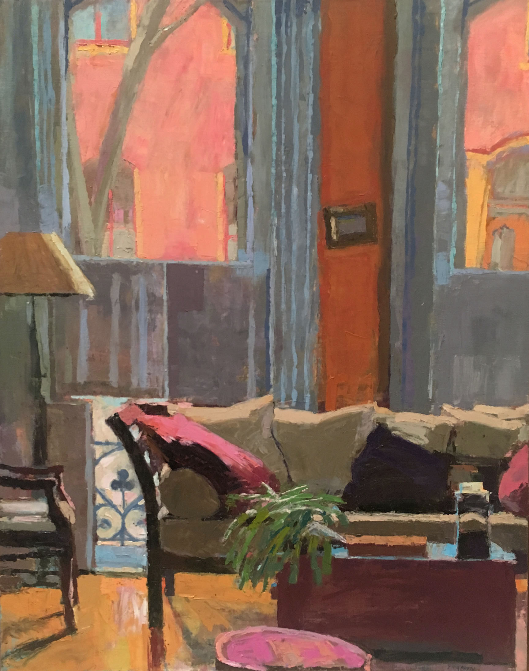 Oil painting of a living room with a couch and two large windows.