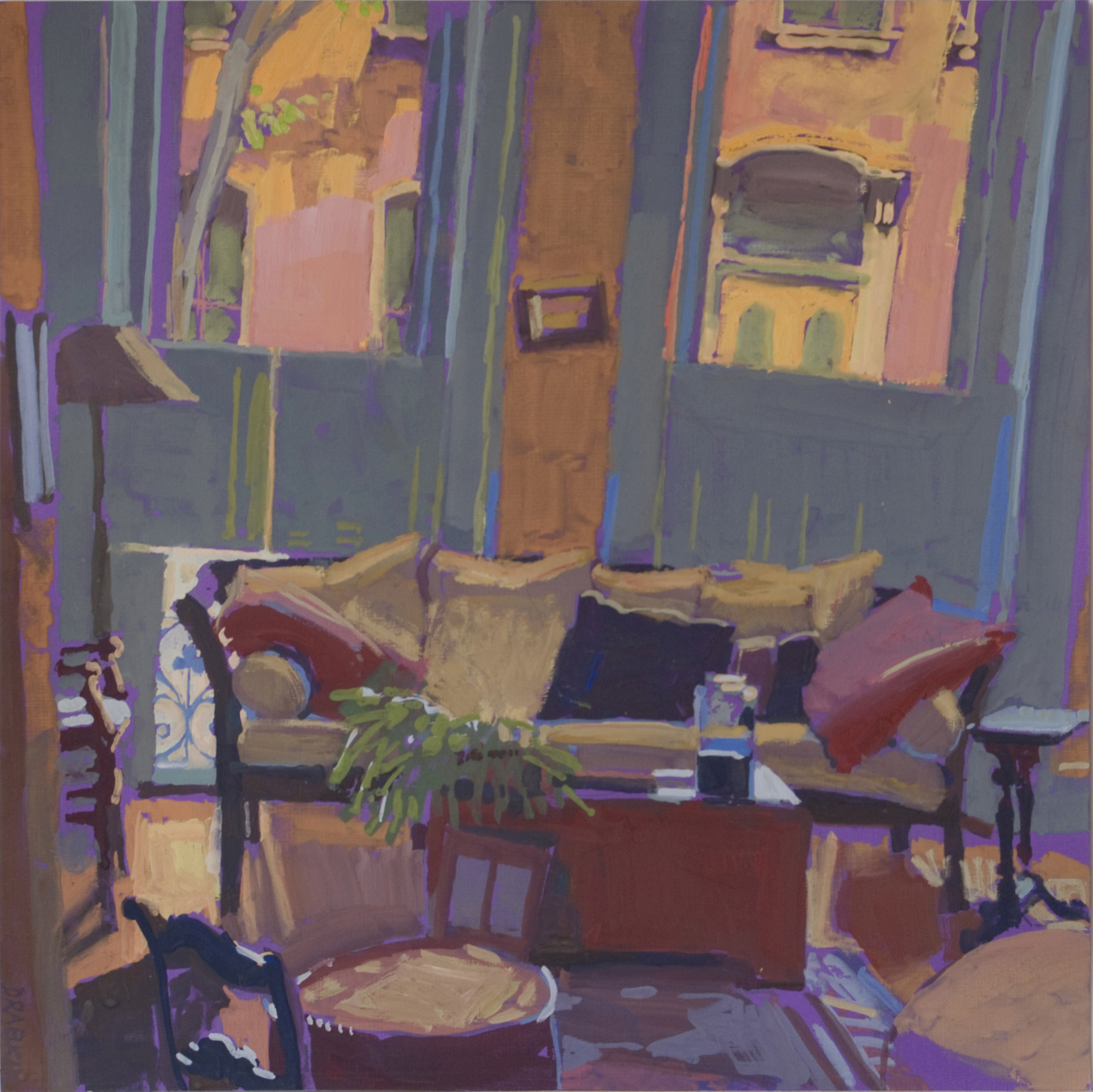 living room scene with a couch, lamp and two large windows.
