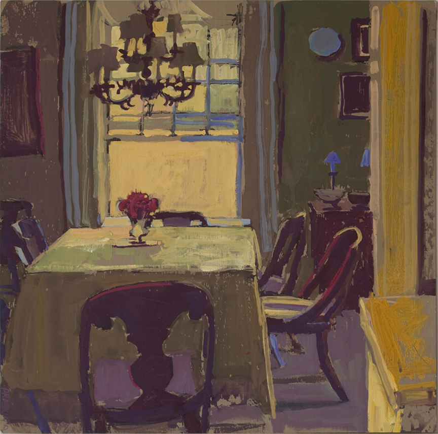 Interior scene with a dining room table, six chairs and a chandelier.
