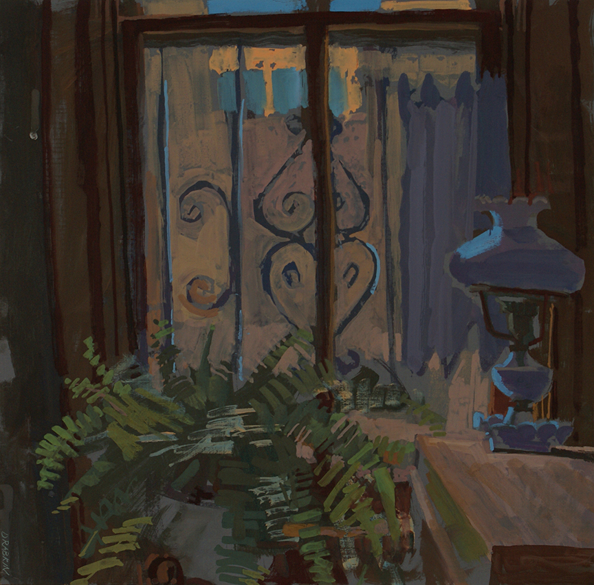 Gouache of a large fern and antique lamp in front of a window.