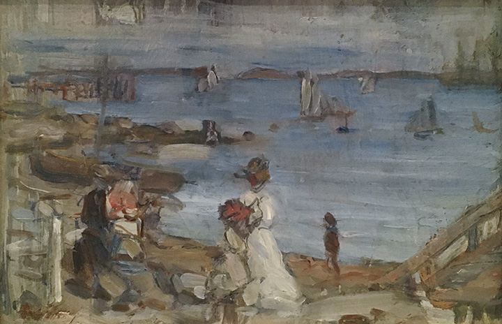 Figures by a harbor scene