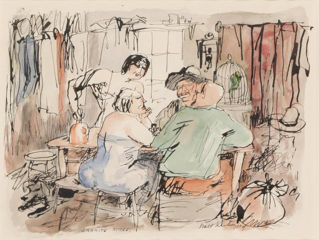 Interior scene of men and women talking while sitting at a table