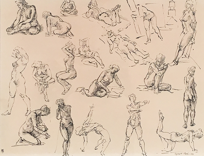 Pen and ink on paper of female figure studies in various positions