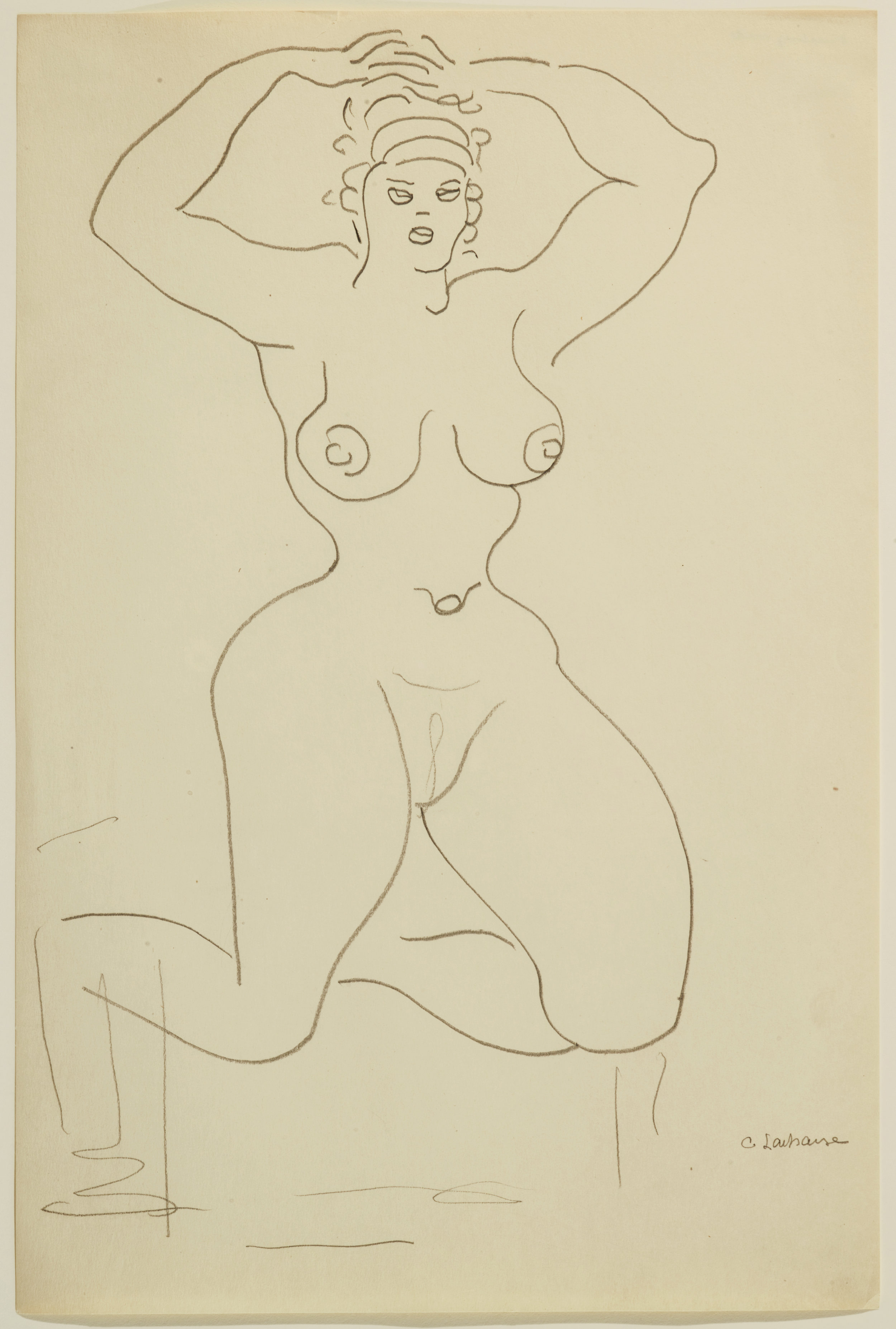 Pencil drawing of a kneeling nude woman