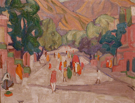 Image of figures walking down a street in India by Marguerite Zorach