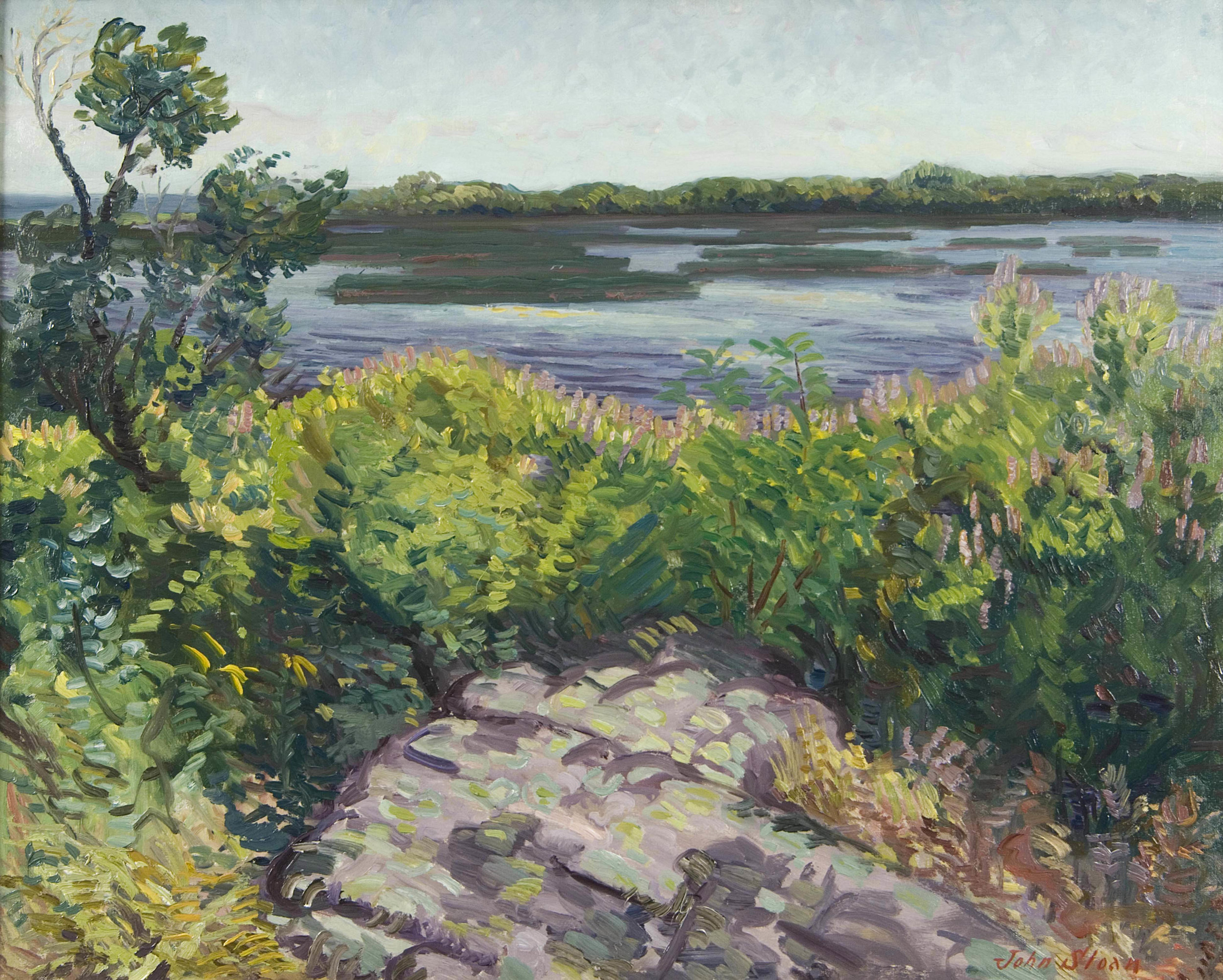 Image of view of Niles Pond in Gloucester, Massachusetts by John Sloan