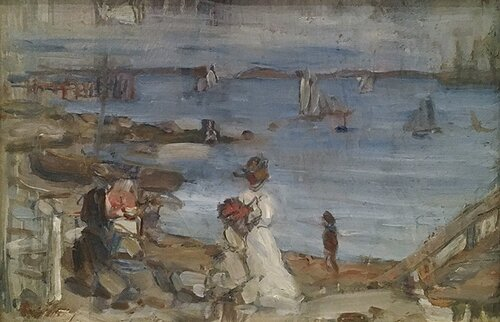 Image of figures on the shore at Concarneau in Northwestern France by Maurice Prendergast