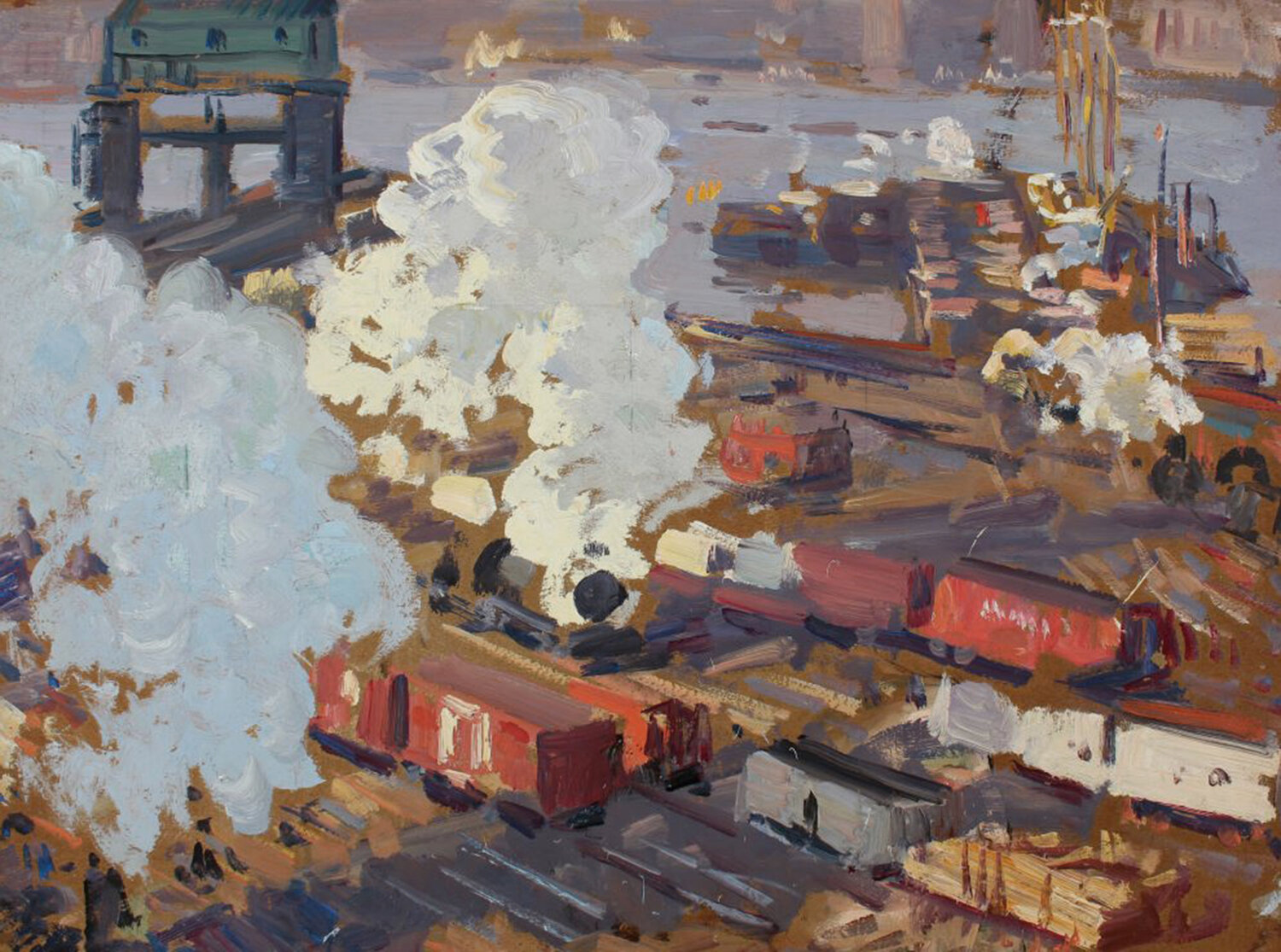 Image of railway yards with steam in New York City with red, blue, browns, and grays by Gifford Beal
