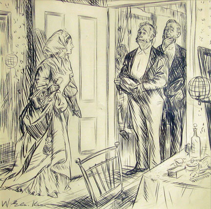 Ink and pencil drawing of two men standing at the doorway engaging with a woman in the room.