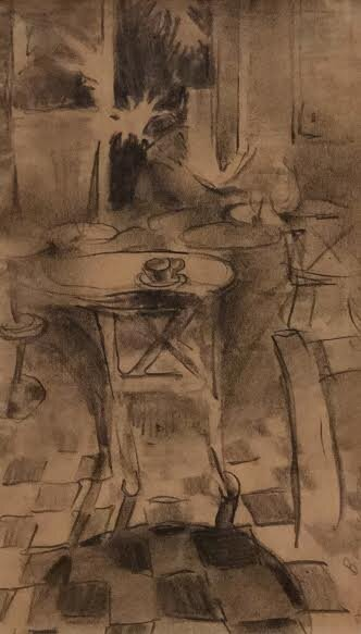 Graphite drawing on paper of cafe scene in Barcelona