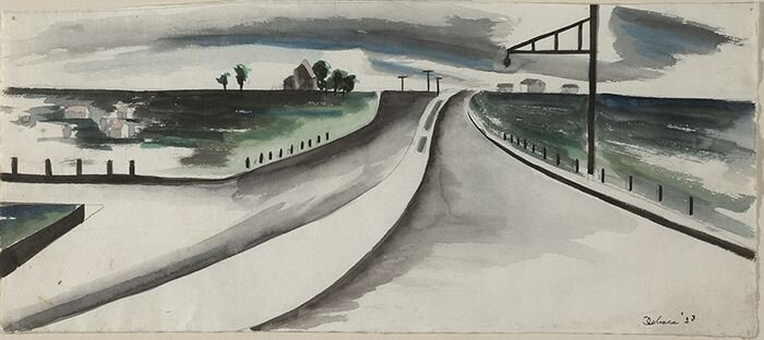 Watercolor of a highway with greens blues and greys.