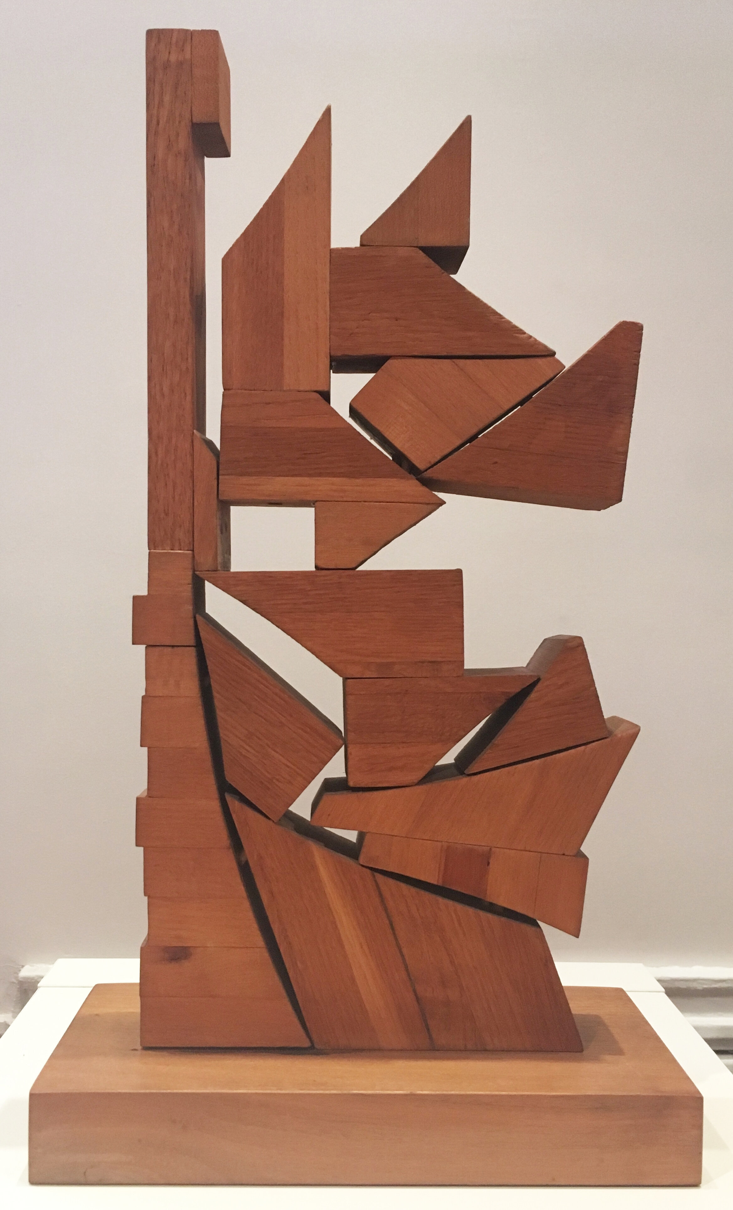 Abstract sculpture with geometric forms in wood