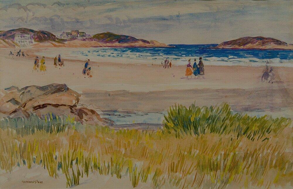 Watercolor scene of Good Harbor Beach located in Gloucester, Massachusetts