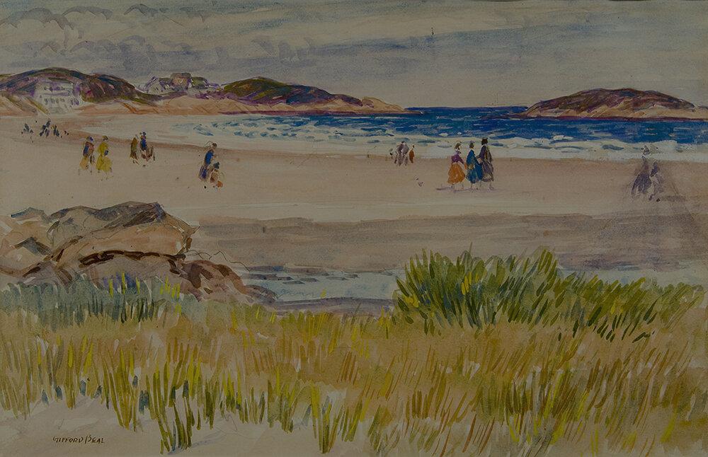 Watercolor of scene of Good Harbor Beach located in Gloucester, Massachusetts