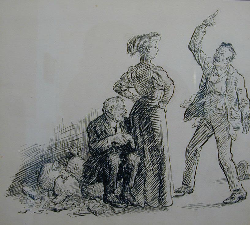 Illustration for magazine story of money lender trying to get money.
