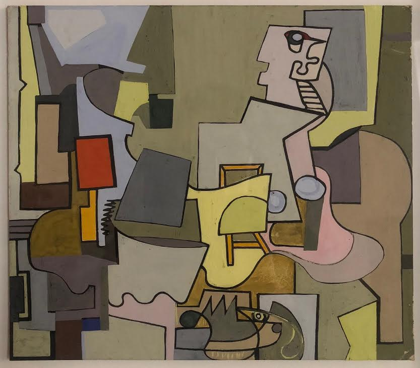 Abstract still life scene in neutral tones with red and pink