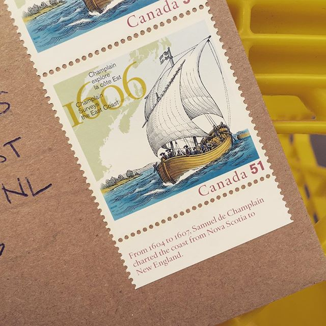 Oh my, it's been too long. Sending birthday greetings to #Newfoundland with some old stamps.
