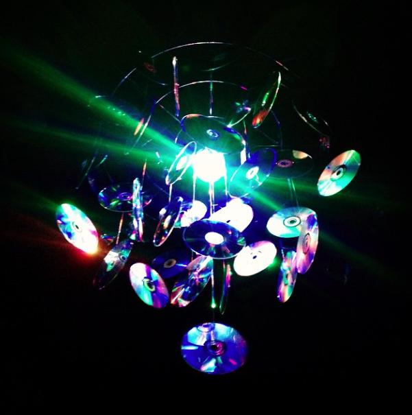 CD chandelier at District Nightclub