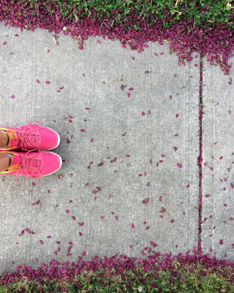 Grateful for feet and flowers and pink