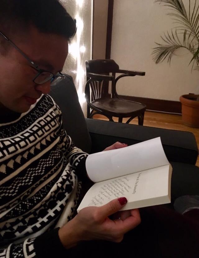 Kai reading his personalized inscription