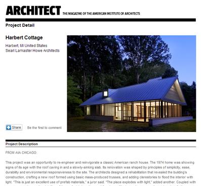 ARCHITECTS MAGAZINE   HARBERT COTTAGE