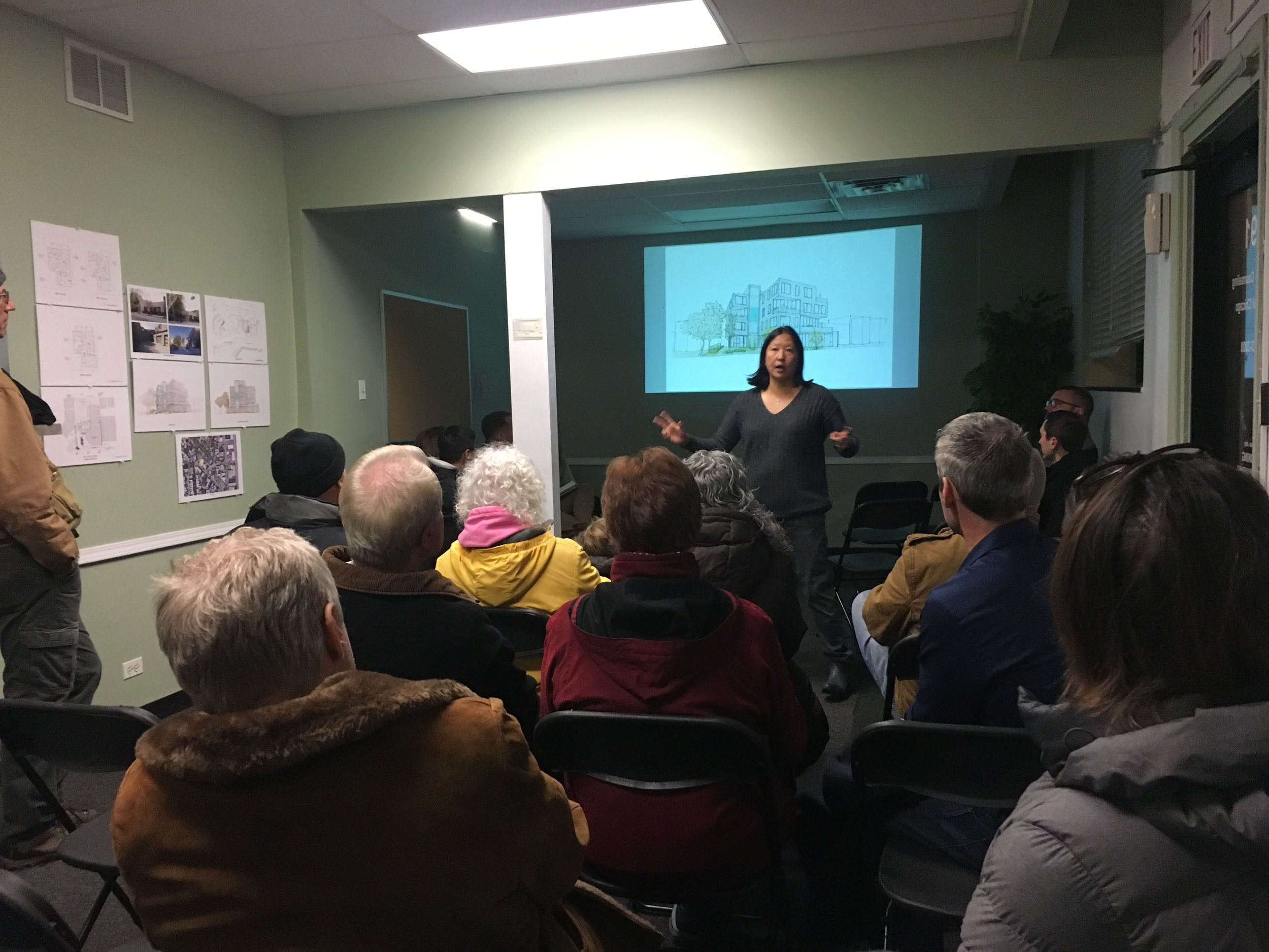 RIDGE PROJECT MEETS WITH NEIGHBORS   Frances Kao  with SLH is planning to develop new  multi-use building  on Ridge Ave that focuses on universal, sustainable, and accessible design.