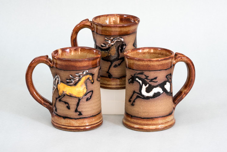 Black Horse Pottery Mugs