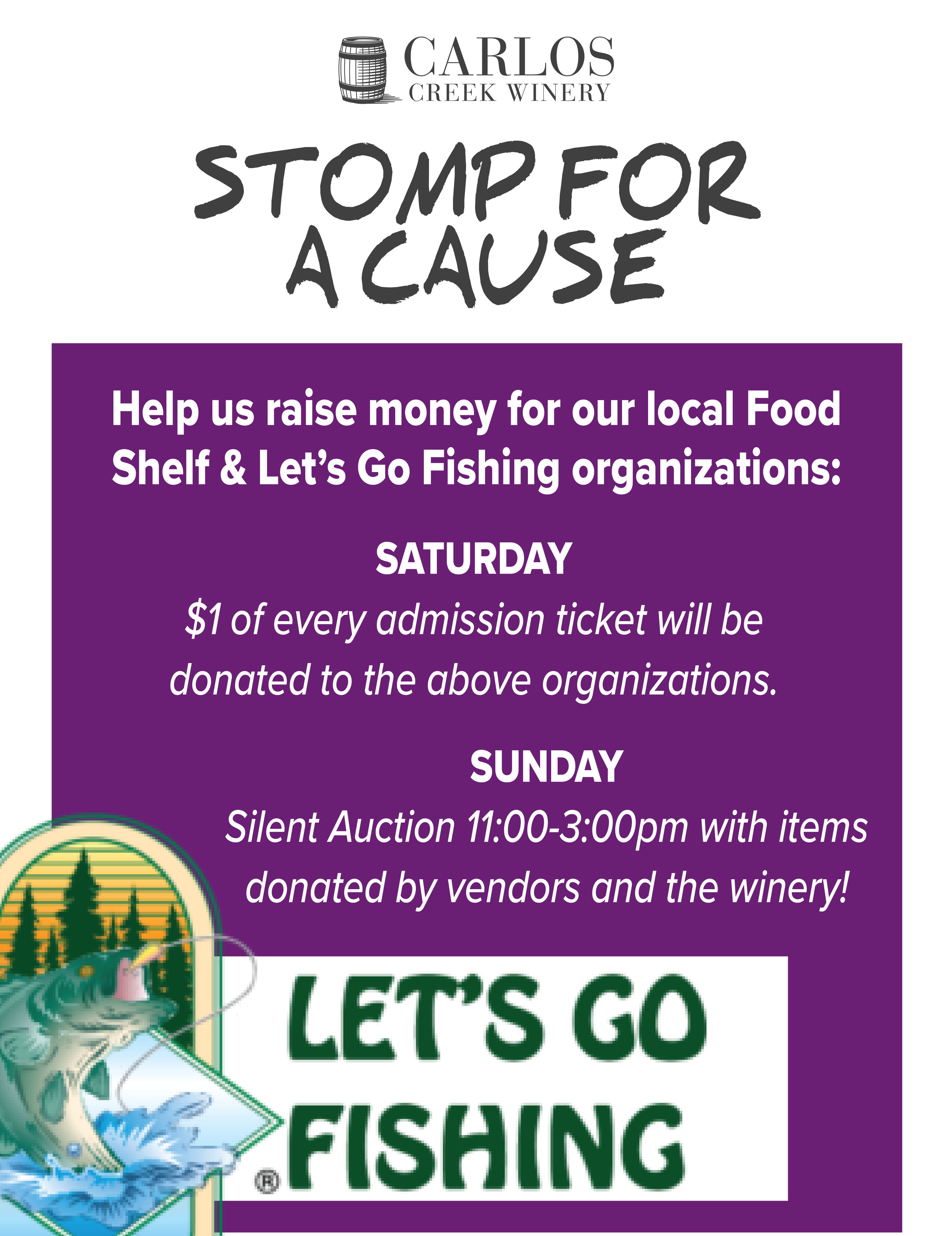 All proceeds going to support the local Food Shelf & Let's Go Fishing! located in Alexandria, MN.