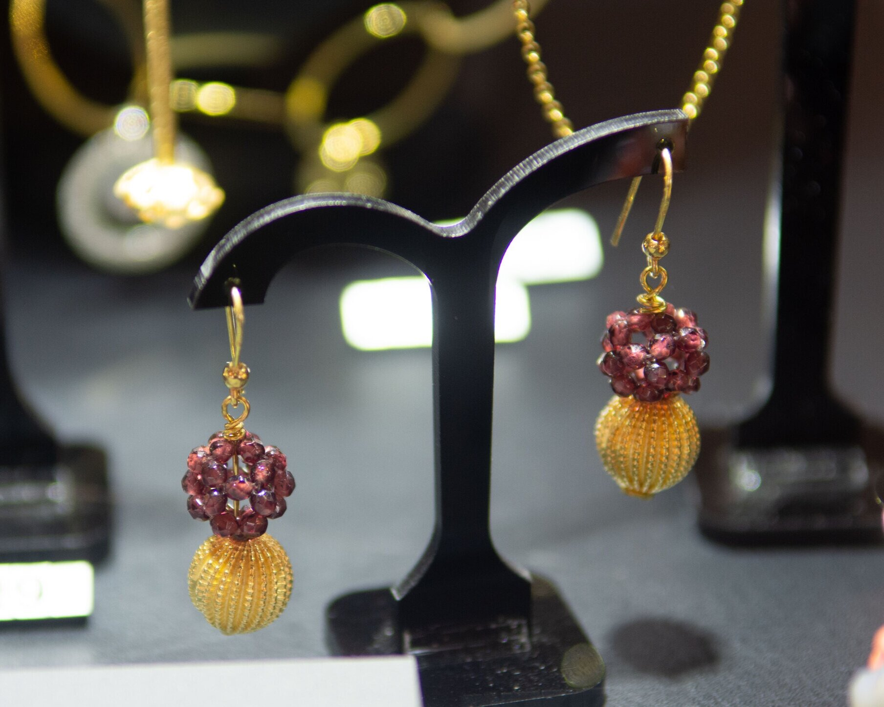 - Gold and Garnet Lace Earringsfeaturing at The Jewellery Cut Live