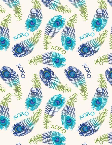 XOXO. Peacock Feather Print.